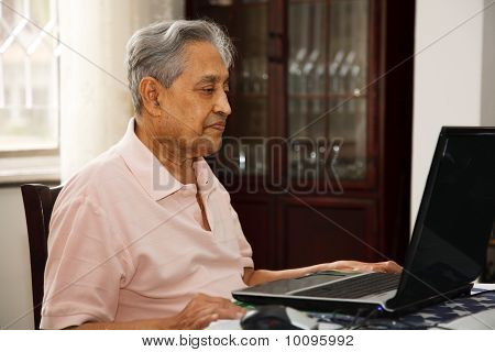 Old Man Using Internet