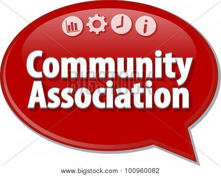 Speech bubble dialog illustration of business term saying Community Association