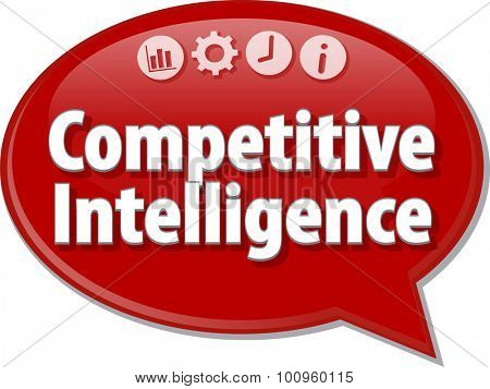 Speech bubble dialog illustration of business term saying Competitive Intelligence