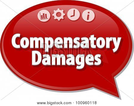 Speech bubble dialog illustration of business term saying Compensatory Damages