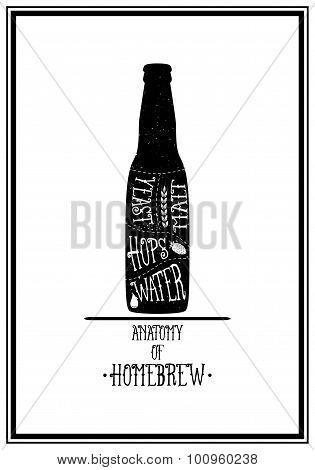 Typographical Background. Vintage beer emblem, label, design element. Typography illustration.