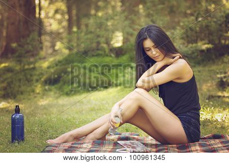 Girl with a book. Portrait of a beautiful girl with a book. The girl on the nature.