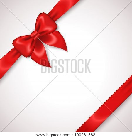 Satin Red Ribbon with Bow Isolated on White.
