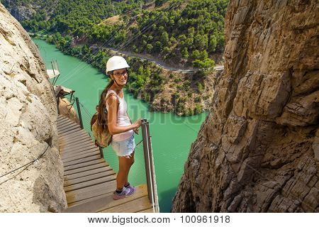 Woman Hiking In Mountainous Area