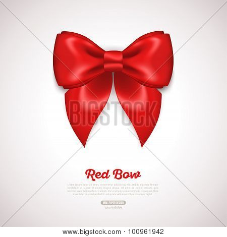 Red Ribbon Satin Bow Isolated on White. Vector Illustration.