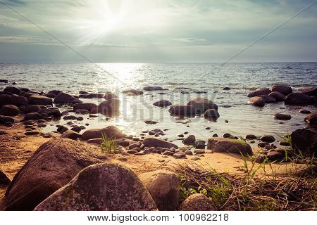 Rocky beach in the sunset