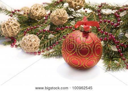 Christmas Red Ball, Twig Of Fir , Red Beads