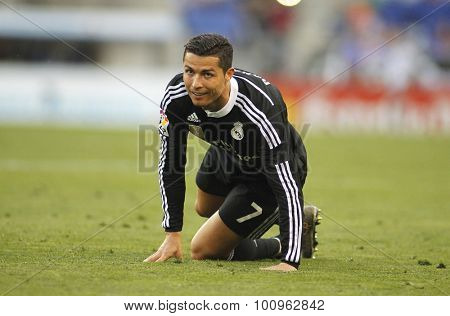 BARCELONA - MAY, 2015: Cristiano Ronaldo of Real Madrid during a Spanish League match against RCD Espanyol at the Power8 stadium on Maig 17 2015 in Barcelona Spain