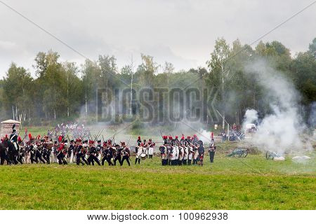 BORODINO, RUSSIA - September 06, 2015 - Reenactment of the battle of Borodino
