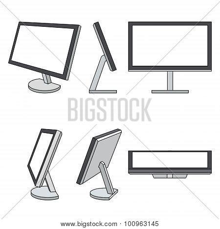 Monitor web vector icons set