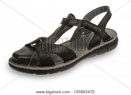 Woman black casual sandal isolated.