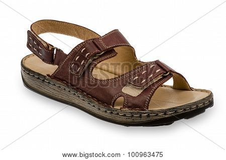 Woman casual brown sandal isolated.