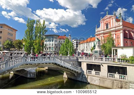 Triple Bridges And St. Franciscan Church, Ljubljana, Slovenia