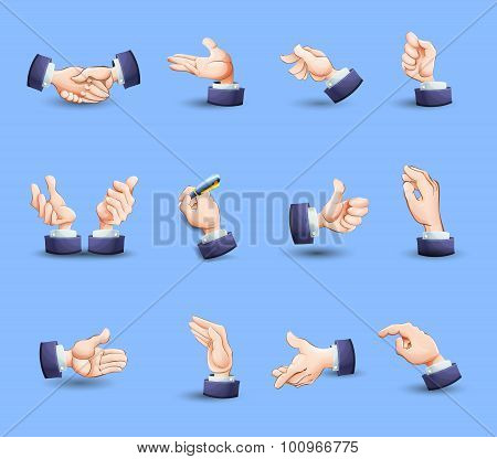 Hands gestures icons set flat