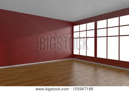 Corner Of Red Empty Room With Large Windows