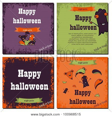Set Of Halloween Night Backgrounds With Cute Monsters.three Halloween Banners. Vector.