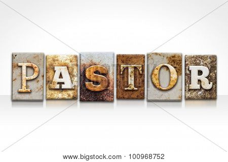 Pastor Letterpress Concept Isolated On White