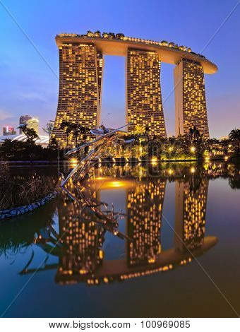 Marina Bay Sands from Butterfly Lake Garden