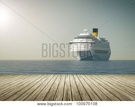 A nice ocean cruise ship and a wooden jetty