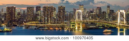 panorama Tokyo Tower skyline and Rainbow Bridge with cityscape at Odaiba Japan