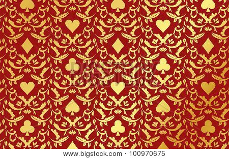 Red Poker Background With Golden Card Symbols