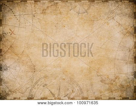 aged nautical treasure map illustration background