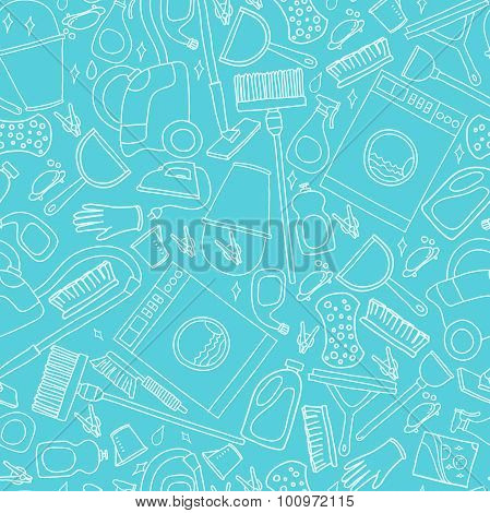Vector Doodle Pattern Of Cleaning Tools.