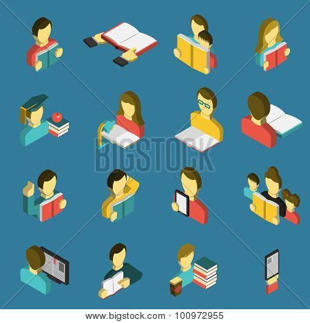 Education reading isometric icons set