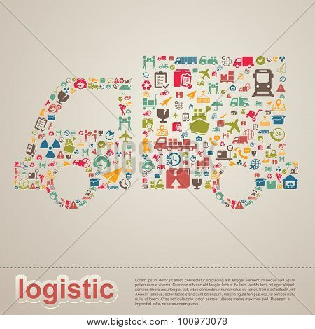 Logistic Distribution And Transportation Delivery Infographic Template Layout Design Background Icon