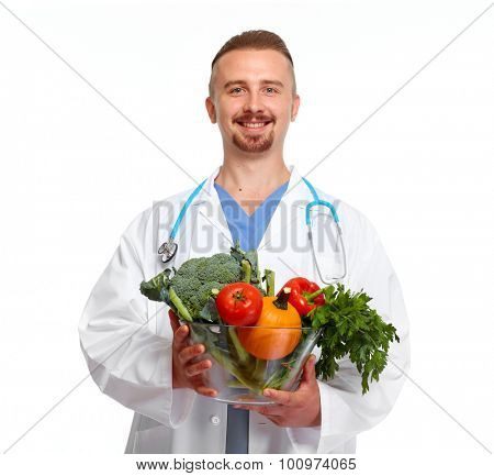 Doctor nutritionist with vegetables isolated white background.