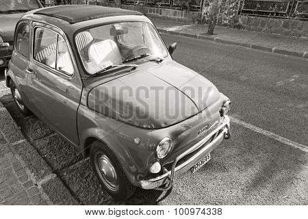 Old Fiat 500 City Car Stands Parked