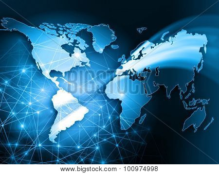 Best Internet Concept of global business. Globe and glowing lines on technological background. Wi-Fi, rays, symbols of the Internet, airwaves, television, mobile and satellite communications