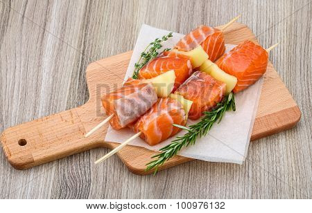 Raw Salmon Skewers
