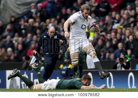 TWICKENHAM LONDON, 27 NOVEMBER 2010.  England's Tom Croft during the Investec International match between England and South Africa at Twickenham Stadium Middlesex England.