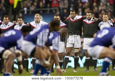 TWICKENHAM LONDON, 20 NOVEMBER 2010. England players watch on as Samoa perform their Hakka during the Investec International match between England and Samoa at Twickenham Stadium Middlesex England.