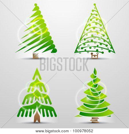 Stylized Icons Of Christmas Tree