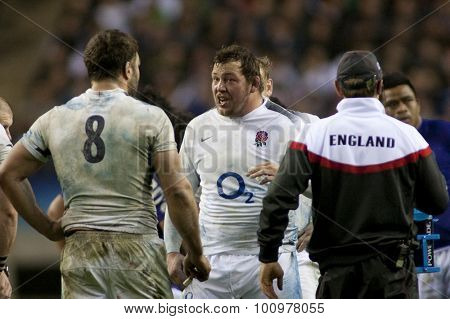 TWICKENHAM LONDON, 20 NOVEMBER 2010. England's captain Nick Easter  and England's Steve Thompson, during the  International match between England and Samoa at Twickenham Stadium Middlesex England.