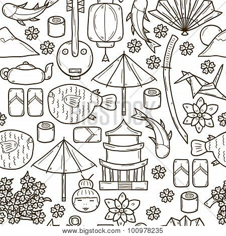 Seamless background with objects in hand drawn outline style on Japan theme: geisha, sword, sushi, s