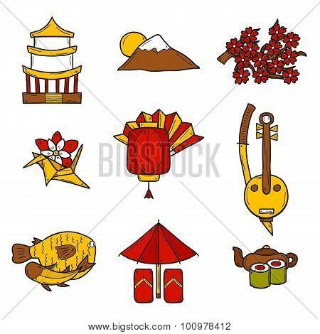 Set of icons in hand drawn style on Japan theme: geisha, sword, sushi, sakura, lantern, origami. Tra