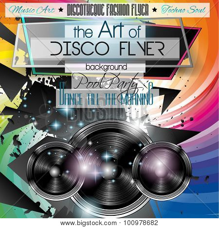 Club Disco Flyer Set with Colorful backgrounds. A lot of different elements for your techno, hip hop, electro or metal music event Posters and advertising