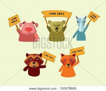 Pets strike. Vector Illustration