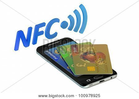 Smartphone With Credit Card, Nfc Concept