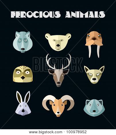 Vector illustration of animals of the northern territories.