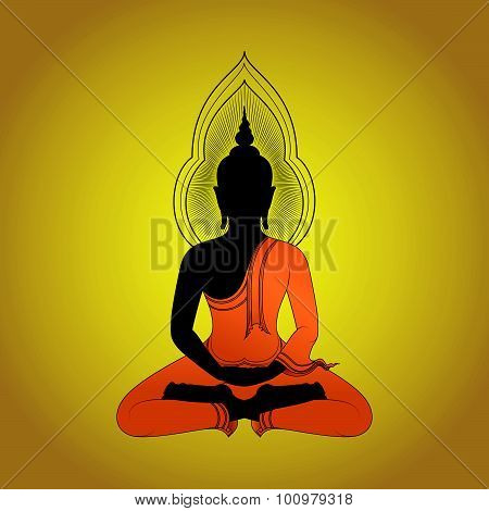 Buddha silhouette against gold background