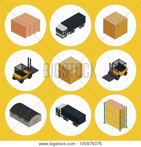Warehouse icon set. Icometric vector.