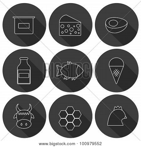 Set of modern flat shadow icons with products containing animal protein and prohibited for vegans: m