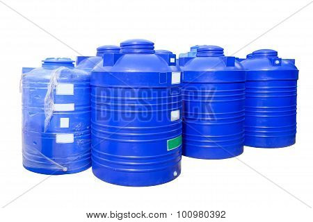 Blue Plastic Water Tanks Isolated On White Background.