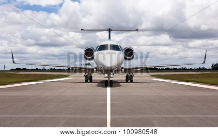Private jet on the runway
