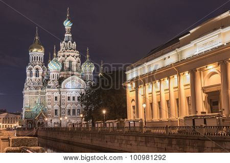 View Of Church On Spilled Blood At Night