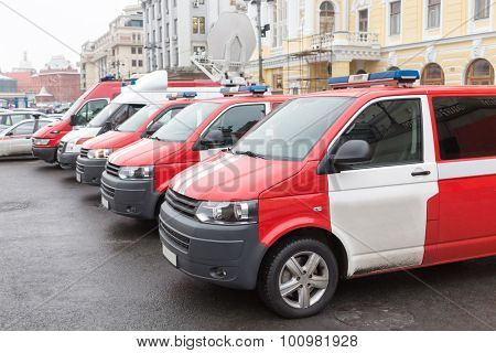 rescue service cars near the Russian Academic Youth Theatre in Moscow